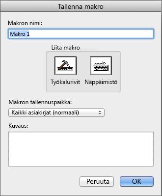 Kehitystyökalut-välilehden Koodi-ryhmän Tallenna makro -komento
