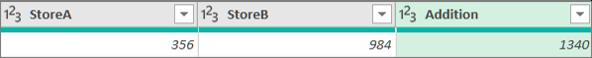 Kahden numeron lisääminen kahdesta sarakkeesta sarakkeen lisäämistä varten