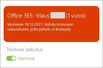 Tarkista Office 365-tilauksesi tiedot