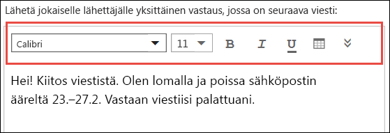 Outlookin verkkoversion automaattinen vastausviesti