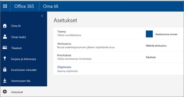 Office 365 -asetukset -sivu