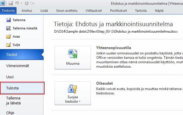 Valitse Tiedosto-välilehdessä Tulosta.