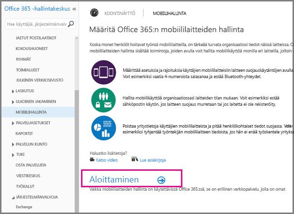 Office 365:n mobiililaitteiden hallinnan määrittäminen