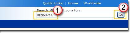 Valitse latauskeskuksen linkki, kirjoita päivitysnumero hakuruutuun (esimerkiksi 960714) ja napsauta sitten hakukuvaketta tai paina näppäimistön Enter-näppäintä.