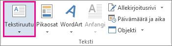 Aloitus-välilehden Tekstiruutu-komento