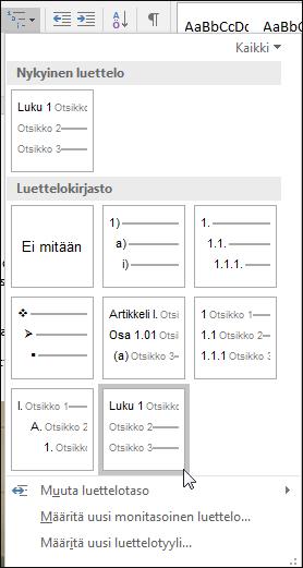 Muotoile kuvateksteihin sisällytettävät lukujen otsikot käyttämällä monitasoista Lukujen otsikot -luetteloa.