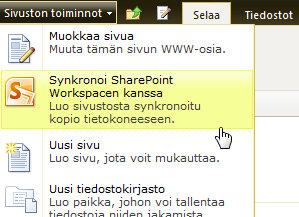 Synkronoi SharePoint Workspaceen