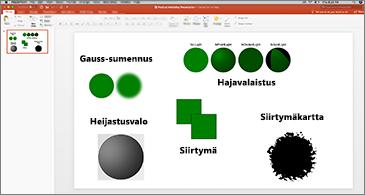 Dia, jossa esimerkkejä SVG-suodattimista