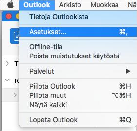 Outlookin valikko, jossa Asetukset näkyy korostettuna