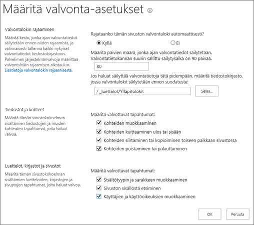 Sivuston sivustokokoelman valvonta-asetukset-näytöstä