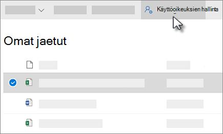 Omat jaetut hallinta Access-painike tarkasteleminen OneDrive for Business