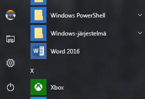 Esimerkki, jossa Word 2016 -pikakuvake puuttuu Officen pikakuvakkeista