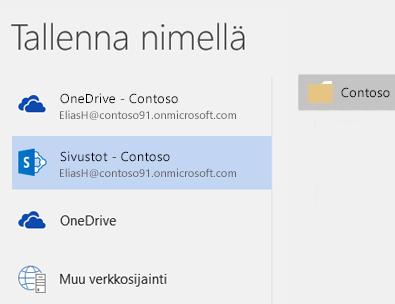 OneDrive for Business -tiedoston tallentaminen ryhmäsivuston kirjastoon