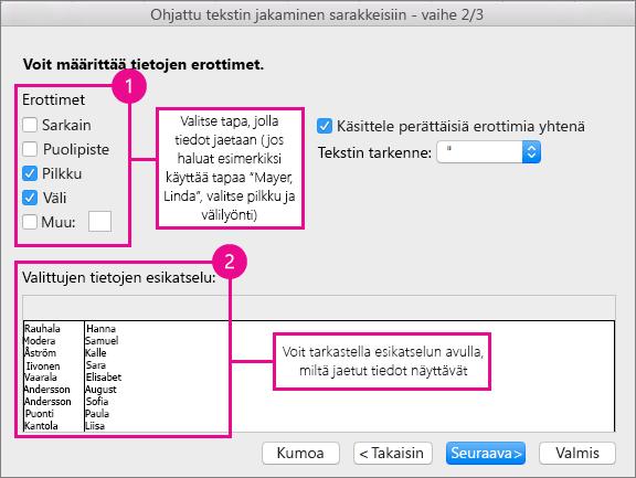 Ohjatun toiminnon vaihe 2 – Valitse kohdassa Erottimet, kuinka tiedot jaetaan; kohdassa Esikatselu näytetään tietojen esikatselu
