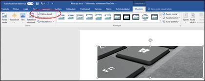 Pakkaa kuva -painike Kuvatyökalut-kohdan Muotoile-välilehden Säädä-ryhmässä
