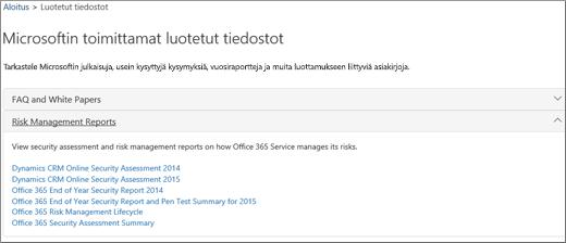 Näyttää Palvelun varmistus -sivun: Luota Microsoftin toimittamiin asiakirjoihin
