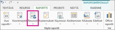 Raportti-välilehden Resurssit-painike