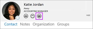 Outlookin yhteystietokortin Pikaviesti-painike korostettuna