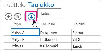 Lataa Exceliin -toimintopainike laskentataulukkonäkymässä