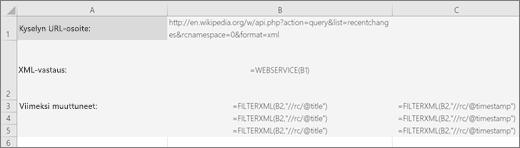 Esimerkki suodatin. XML-funktiosta