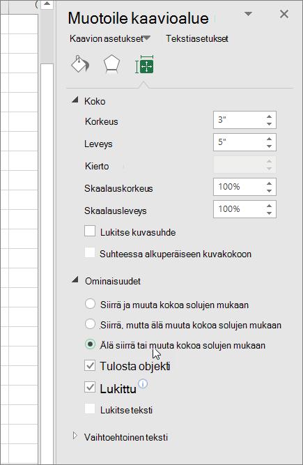 Muotoile kaavioalue-ruudun ominaisuudet