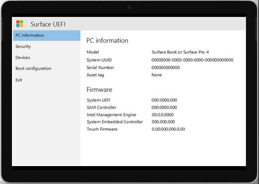 """Valkoinen näyttö, jonka otsikko on """"Surface UEFI"""" ja tietoja tietokoneen tiedoista ja laiteohjelmistoista."""