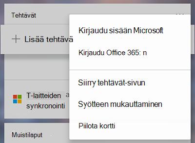 Näyttö kuva, jossa näkyy vaihto ehto kirja utua sisään Microsoft-tai Office 365-sovelluksessa Lisää tehtäviä-kortti lisää-valikossa