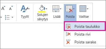 Sen ponnahdusvalikon osan kuva, joka avautuu, kun valitset taulukon solun sisällön Word Onlinessa, Poista taulukko -vaihtoehto korostettuna.