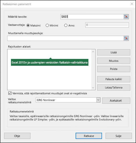 Excel 2010+:n Ratkaisin-valintaikkunan kuva