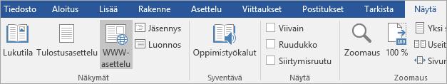 Oppimistyökalut Näytä-välilehdessä