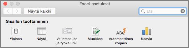 Office2016 for Macin Valintanauhan työkalurivin asetukset