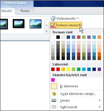 Videon värin muuttaminen