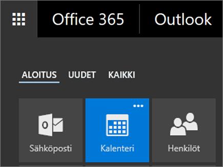Näyttökuva Office 365 -sovelluksen käynnistimestä, jossa näkyy Kalenteri-ruutu