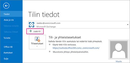 Lisää Gmail-tili Outlookiin napsauttamalla Lisää tili -painiketta