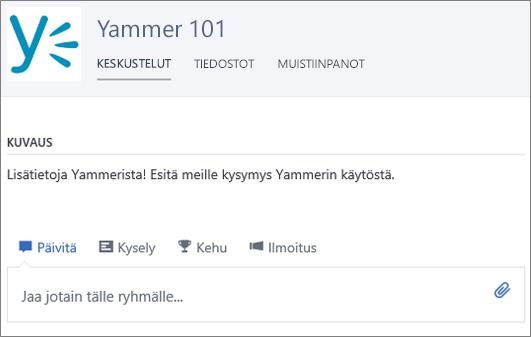Esimerkki Yammer 101 -ryhmästä