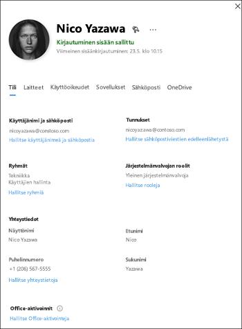 Näytön sieppaus: käyttäjien tietoruudun hallintakeskuksen Preview-version.