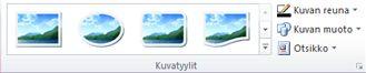 Publisher 2010:n Kuvatyökalut-välilehden Kuvatyylit-ryhmä