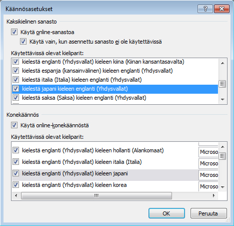 Translation Options dialog box