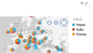 värin lisääminen Power View -kartan visualisointeihin