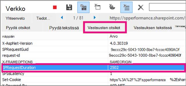 Näyttökuva, jossa pyynnön kesto on 2502 ms