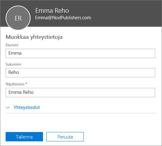 Muokkaa yhteystietoa -ruutu, johon voi kirjoittaa uuden etu-, suku- ja näyttönimen.