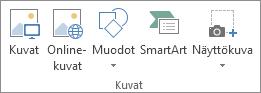 Excelin Lisää-välilehden Kuvat-ryhmä