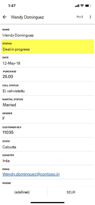 Excel näyttää kortin yksityiskohtaisen näkymän.