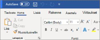 Word for Windowsin valintanauhan yläpuolella oleva pikatyökalurivi.