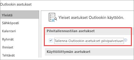 Näyttää Outlook-asetusvalinnat
