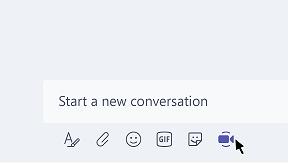 Laajenna-, Valitse tiedosto-, Emoji-, Giphy-, Tarra- ja Järjestä kokous nyt -painikkeet tekstiruudussa