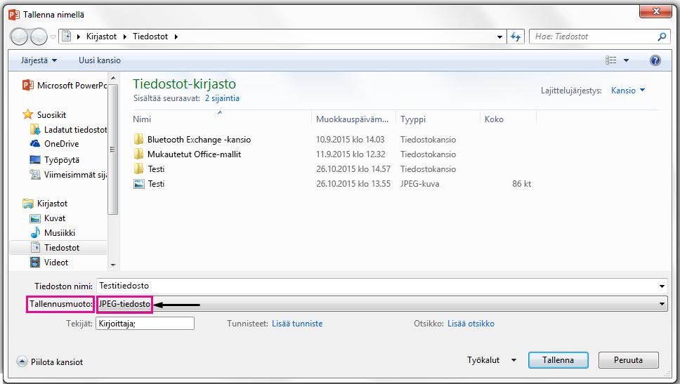 Määritä Tallenna nimellä -valintaikkunassa tiedostomuoto, jossa haluat tallentaa dian.