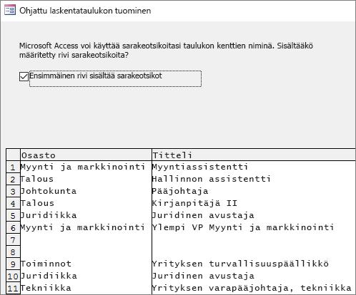 Tietojen tuomisesta Excelistä