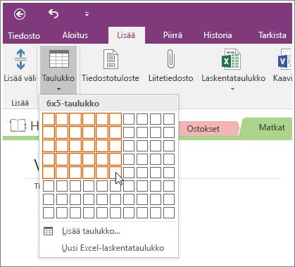 Näyttökuva taulukon lisäämisestä OneNote 2016:ssa.