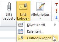 Valintanauhan Liitä Outlook-kohde -komento